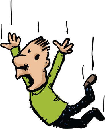 A cartoon man is unhappy as he falls.