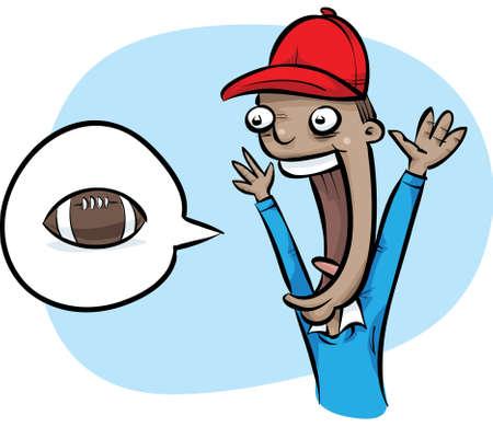 football fan: A cartoon football fan cheering for his team.