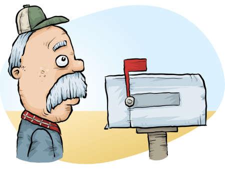 A sad, old cartoon farmer checks his mail at the mailbox.