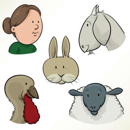 sheep wool: A cartoon set of farm faces.
