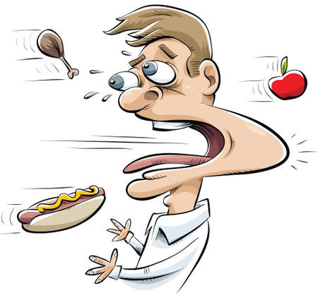 Food objects fly quickly past a man with one impacting in his mouth.