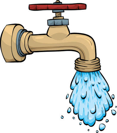 Water pours from a cartoon metal faucet. Vector