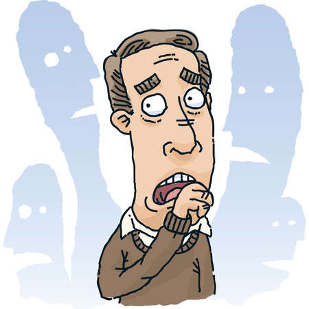 fear: A cartoon man is fearful of those around him.