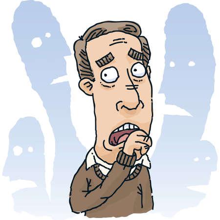 Een cartoon man is eerder bang van mensen om hem heen.