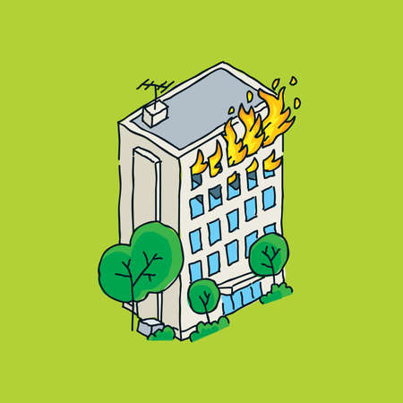 Cartoon of an apartment building on fire.