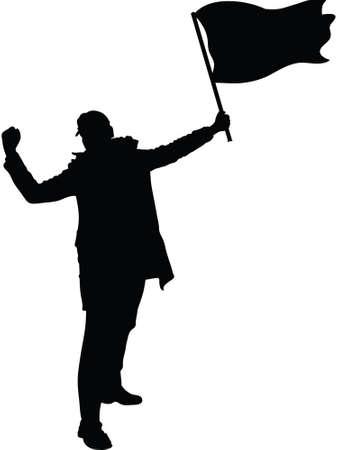 A rebellious protester holding a flag. Ilustração