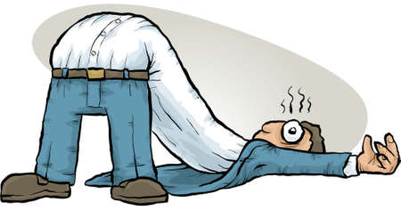 broken down: A cartoon man half flopped over on his back.