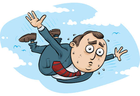 A nervous businessman tries to fly by flapping his arms.