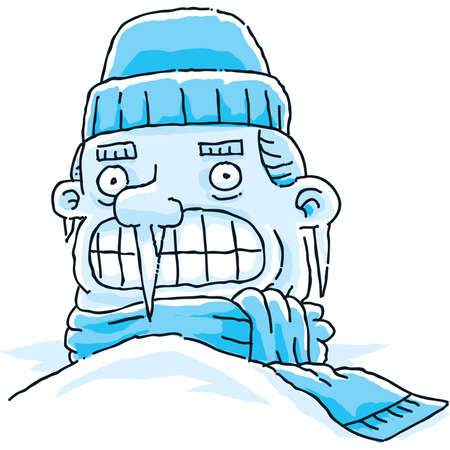 A very cold cartoon man, frozen in the snow.