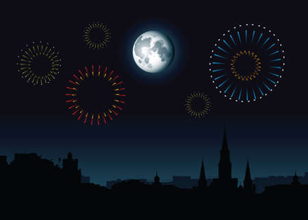 Full moon and fireworks rise over a skyline silhouette of the French Quarter in New Orleans, Louisiana, USA. 向量圖像