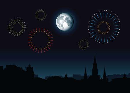 Volle maan en vuurwerk stijgen boven een skyline silhouet van de Franse wijk in New Orleans, Louisiana, Verenigde Staten. Stock Illustratie