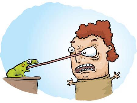 accident woman: Una rana se enganche en y tira el ojo de una mujer con su lengua. Vectores