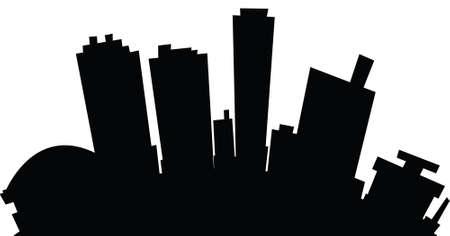 Cartoon skyline silhouette of the city of Fort Worth, Texas, USA.