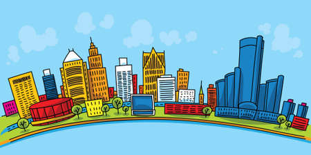 Cartoon skyline of downtown Detroit, Michigan, USA.