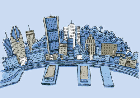 montreal: Cartoon skyline of the city of Montreal, Quebec, Canada. Illustration
