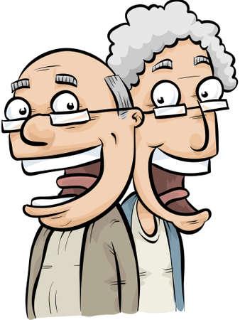 A happy, cartoon senior couple.