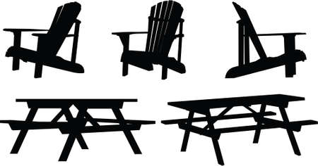Silhouette set of outdoor picnic tables and chairs. Vector