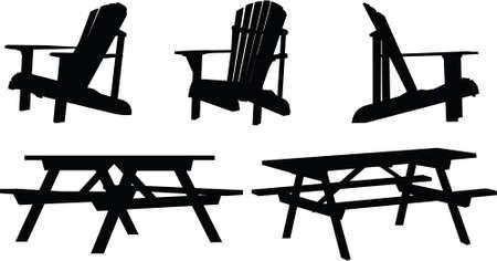 silla: Silueta conjunto de mesas de picnic al aire libre y sillas.