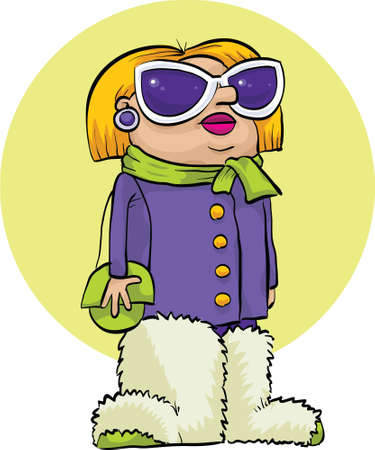 spoiled: A stylish cartoon woman with great, big fuzzy boots. Illustration