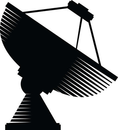 A silhouette of a dish antenna.