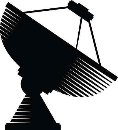 Een silhouet van een schotelantenne.