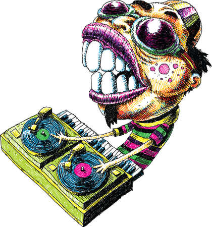 An intense cartoon DJ mixing music on vinyl turntables.
