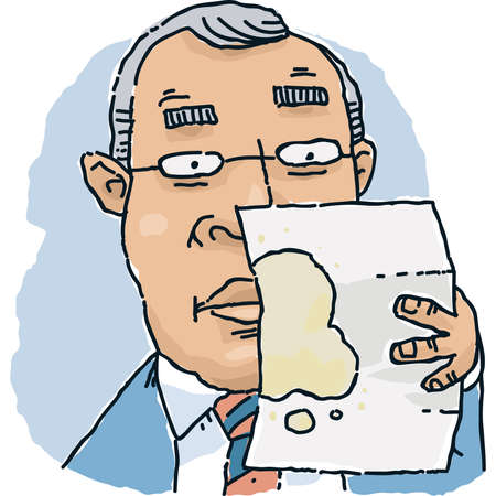 A cartoon businessman examines a stained document.