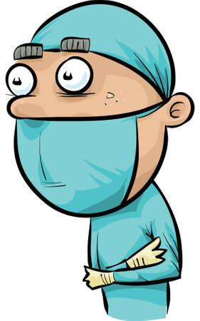 A cartoon doctor in scrubs. Ilustração