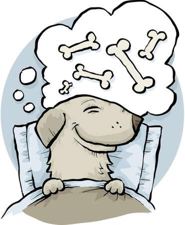 sleep: A cartoon dog dreaming of bones while asleep in bed.  Illustration