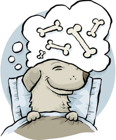 A cartoon dog dreaming of bones while asleep in bed.  Vectores