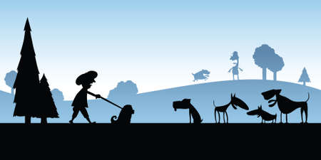 Cartoon silhouette of activity at a dog park.
