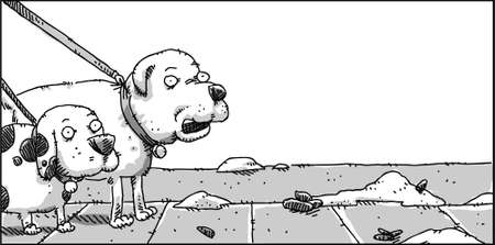 dog walking: Two cartoon dogs note a pile of unscooped dog poop.