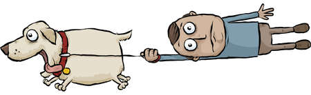 A running cartoon dog pulls its owner on a leash. Иллюстрация