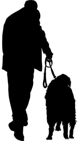 Silhouette of a man walking his dog.