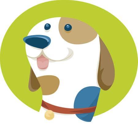 A cartoon dog with a friendly face.