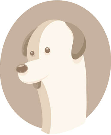 simple: A cartoon portrait of a simple dog.  Illustration