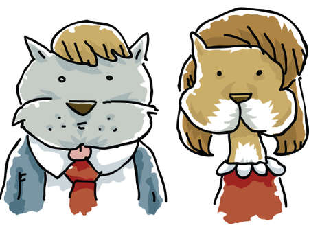 domestic: A pair of domestic cats as cartoon husband and wife.