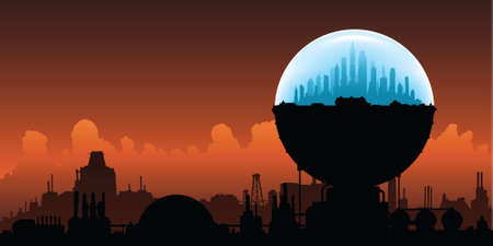 A domed city is an oasis on a planet destroyed by climate diasaster. Vector