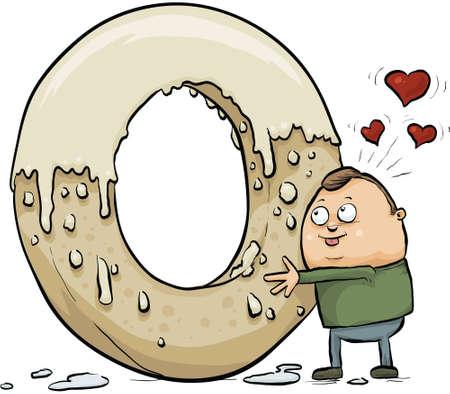 A cartoon man hugs a giant, glazed doughnut with affection. Imagens - 29157131