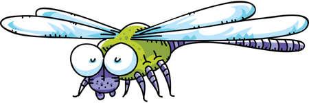 A cute,cartoon dragonfly. Иллюстрация