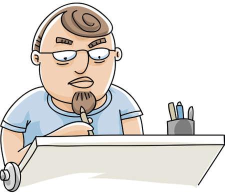 draftsman: A draftsman hard at work at his drawing table.