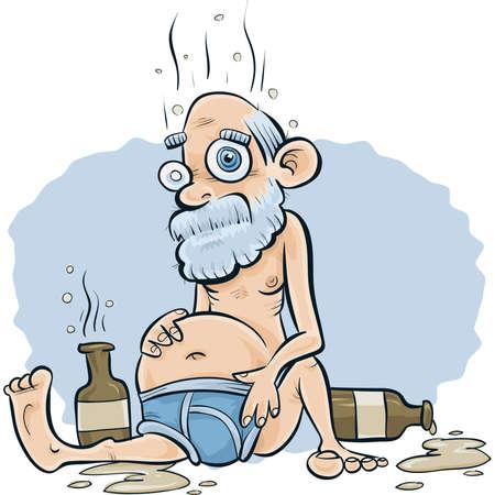 An old, drunk cartoon man sits in his underwear in a stupor.