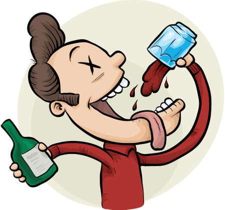 tomando alcohol: Un hombre borracho de dibujos animados continúa bebiendo más vino.