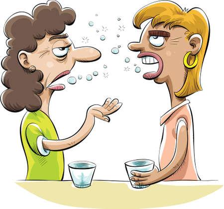 Dos mujeres amigos borrachos chismes sobre las bebidas.