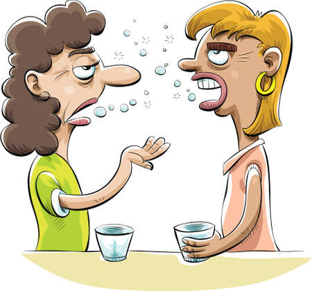 excessive: Two drunk women friends gossip over drinks. Illustration