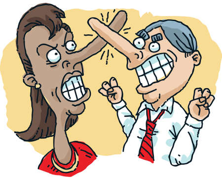A cartoon woman and man fight with their long noses. Illustration