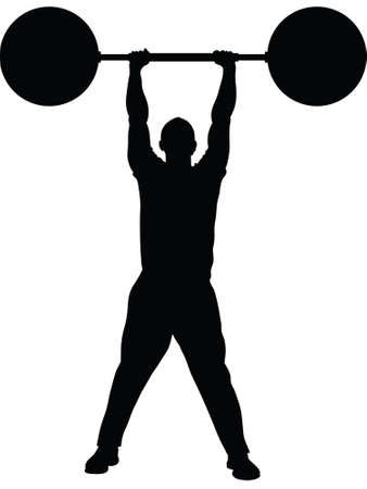 heavy: A silhouette of a man lifting heavy weights with ease.