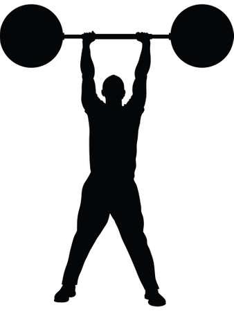 hombre levantando pesas: Una silueta de un hombre levantando pesas pesadas con facilidad.