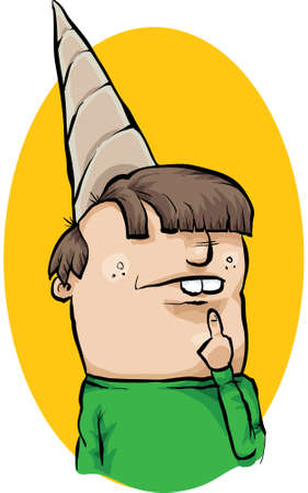 A cartoon man wearing a dunce cape and thinking.  Vector