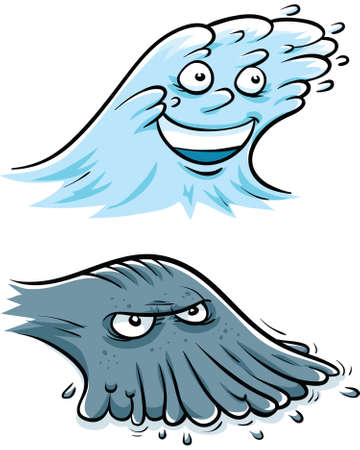Cartoon water characters representing flowing and ebbing.